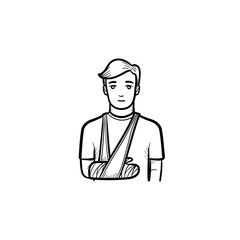 Patient with broken arm hand drawn outline doodle icon. Male patient standing with bandage at arm. Traumatology concept. Vector sketch illustration for print, web and infographics on white background.