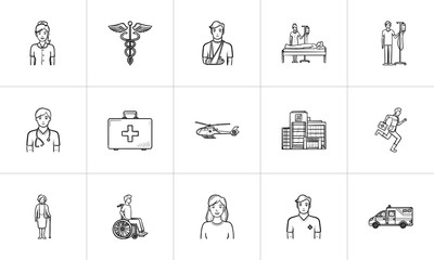 Medicine hand drawn outline doodle icon set for print, web, mobile and infographics. Healthcare, traumatology, emergency help and nursery vector sketch illustration set isolated on white background.