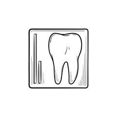 Tooth x-ray hand drawn outline doodle icon. Dentist care, stomatology and dental health concept. Vector sketch illustration for print, web, mobile and infographics on white background.