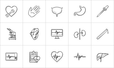 Medicine hand drawn outline doodle icon set for print, web, mobile and infographics. Healthcare, hospital, paramedic and first aid vector sketch illustration set isolated on white background.