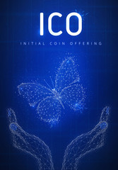 ICO initial coin offering on futuristic hud background with glowing polygon butterfly, hands, blockchain peer to peer network and title ICO. Global cryptocurrency business concept. Low poly design.