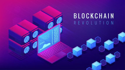 Isometric blockchain revolution concept. Global business and economy changes, cryptocurrency stock exchange and money transfer illustration on ultraviolet background. Vector 3d isometric illustration.
