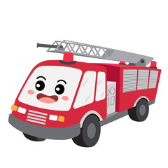 Fire Engine transportation cartoon character perspective view isolated on white background vector illustration.