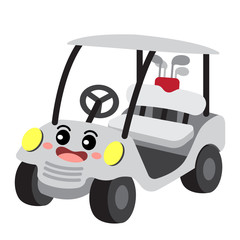 Golf Cart transportation cartoon character perspective view isolated on white background vector illustration.