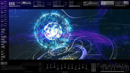 Futuristic motion element user interface information technology virtual head up display for background computer desktop screen display