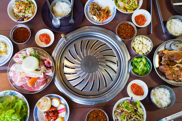 pork korean style and vegetable for barbeque