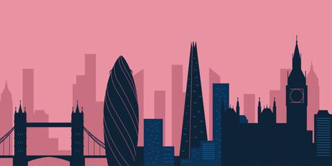 London city skyline. London skyscraper building silhouette