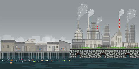 Pollution environment plant pipe dirty waste air and water polluted environment.