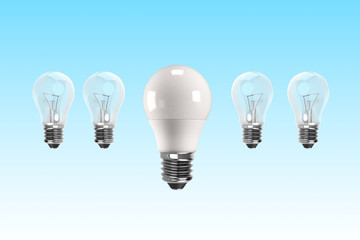 LED bulb for energy saving concept, 3D illustration.