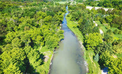 Aerial view of small river in the summer time, Ontario, Canada