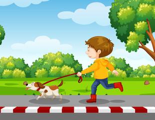 young boy walking a dog