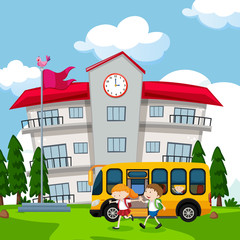 Kids Come to School By Bus