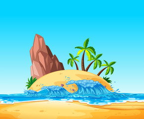 A Tropical Island and Wave