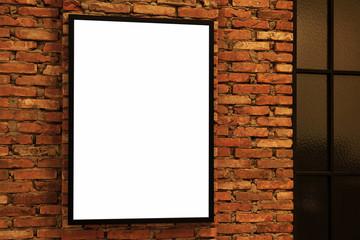Blank frame on brick wall 1