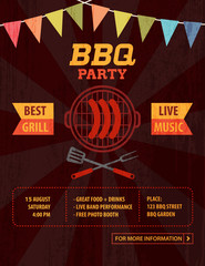 BBQ Barbecue Party Invitation Poster