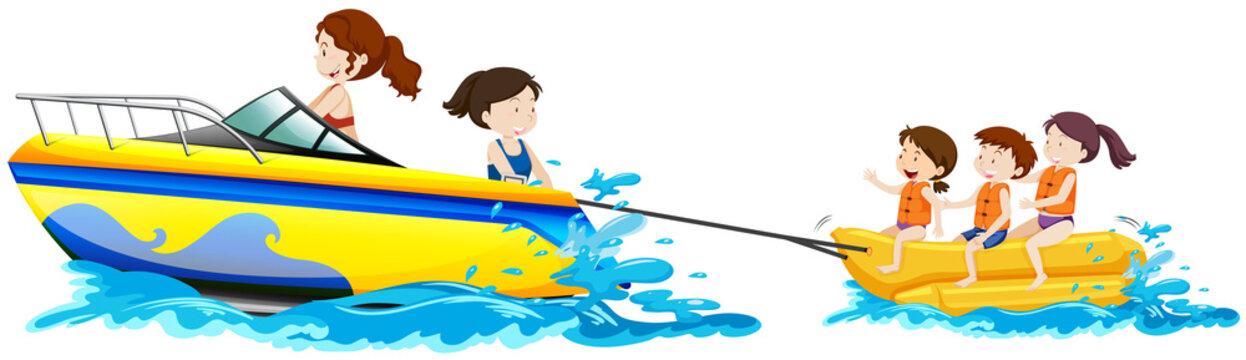 Happy Children Plying Banana Boat