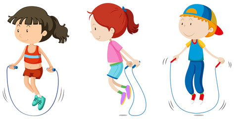 Set of children skipping