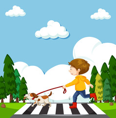 A Boy Crossing Street with Dog