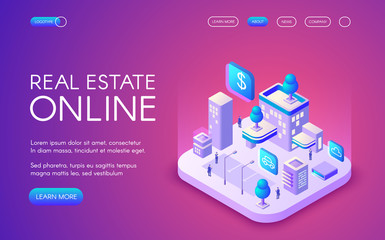 Real estate online vector illustration of smart city connected to wireless communication. Apartments cloud network, parking and offices for digital trade industry on purple ultraviolet background