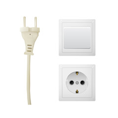 Electrical adapter with outlet and switch. Energy power vector illustration.