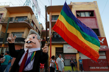 A participant waves a rainbow flag during a march in support of gay marriage, sexual and gender diversity in Ciudad Juarez