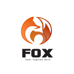 Circle fox stand look back logo