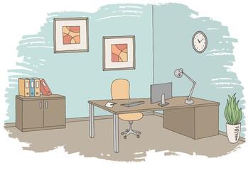 Office graphic color interior sketch illustration vector