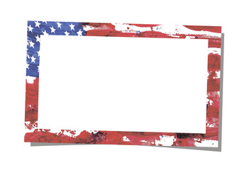 Simple rectangular realistic vector photo frame placed on white background with shadow. Template design. Art brush watercolor painting of USA flag blown in the wind as a frame pattern.