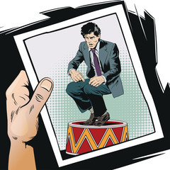 Businessman on circus pedestal. Stock illustration.