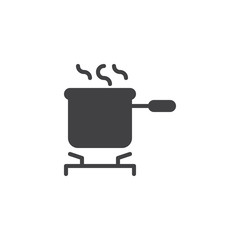 Cooking pot on stove vector icon. filled flat sign for mobile concept and web design. Saucepan on the stove simple solid icon. Symbol, logo illustration. Pixel perfect vector graphics