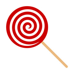 Red swirl Lollipop sucker or lolly candy flat vector icon for apps and websites