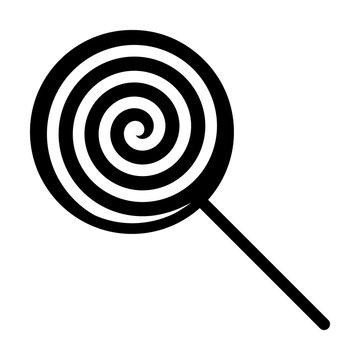 Swirl lollipop sucker or lolly candy flat vector icon for apps and websites