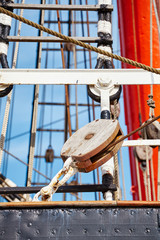 Close up picture of old sailing ship details, selective focus.