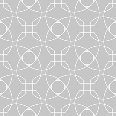 Gray and white geometric ornament. Seamless pattern