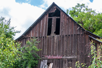 An old barn with a peaked rood stands with trees on its side and back. Missing planks of wood are missing in the upper front. A blue sky and clouds are in the background.