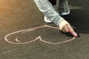 chalk drawings on asphalt