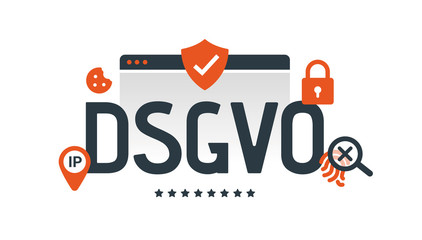 General Data Protection Regulation, germany. Digital and internet symbols in front of DSGVO letters. GDPR, RGPD, DSGVO. Concept vector illustration. Flat style. Horizontal