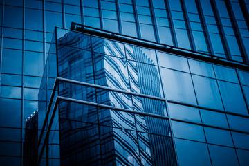 Modern architecture tone close Up in blue tone.