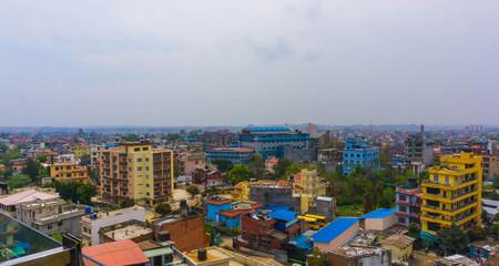 Panorama view over Kathmandu city from Swayambhunath temple complex, Nepal.