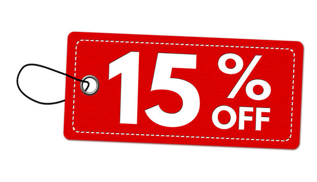 Special offer 15% off label or price tag