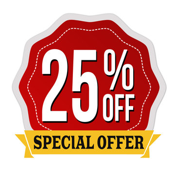 Special offer 25% off label or sticker