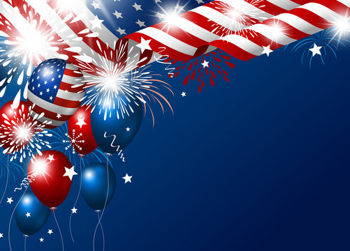 USA 4th july happy independence day design of american flag and balloon with fireworks vector illustration