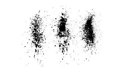 Ink Splatter Black Paint Brush Splashes Set