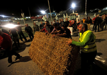 Farmers of FNSEA, France's largest farmers' union, block the Total biodiesel refinery at La Mede near Fos-sur-Mer