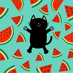 Black cat jumping or making snow angel. Watermelon slice icon cut with seed Triangle fruit cut. Hello Summer Cute cartoon character. Pattern Green background. Flat design.