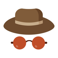 Man safari or detective hat and sunglasses icon. Male hipster headwear and glasses.