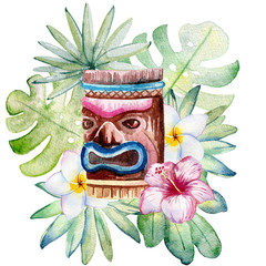 Tropical watercolor illustration with leaves, mask and flowers.