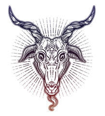 Pentagram in the head of demon Baphomet. Satanic goat head. Binary satanic symbol.