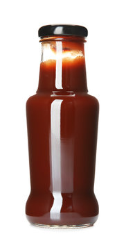 Bottle with tasty barbeque sauce on white background