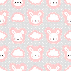 Cute White Bunny Rabbit with Cartoon Cloud Seamless Pattern Background, Vector illustration